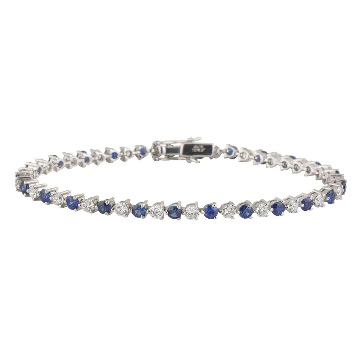Diamond and Sapphire White Gold Line Bracelet